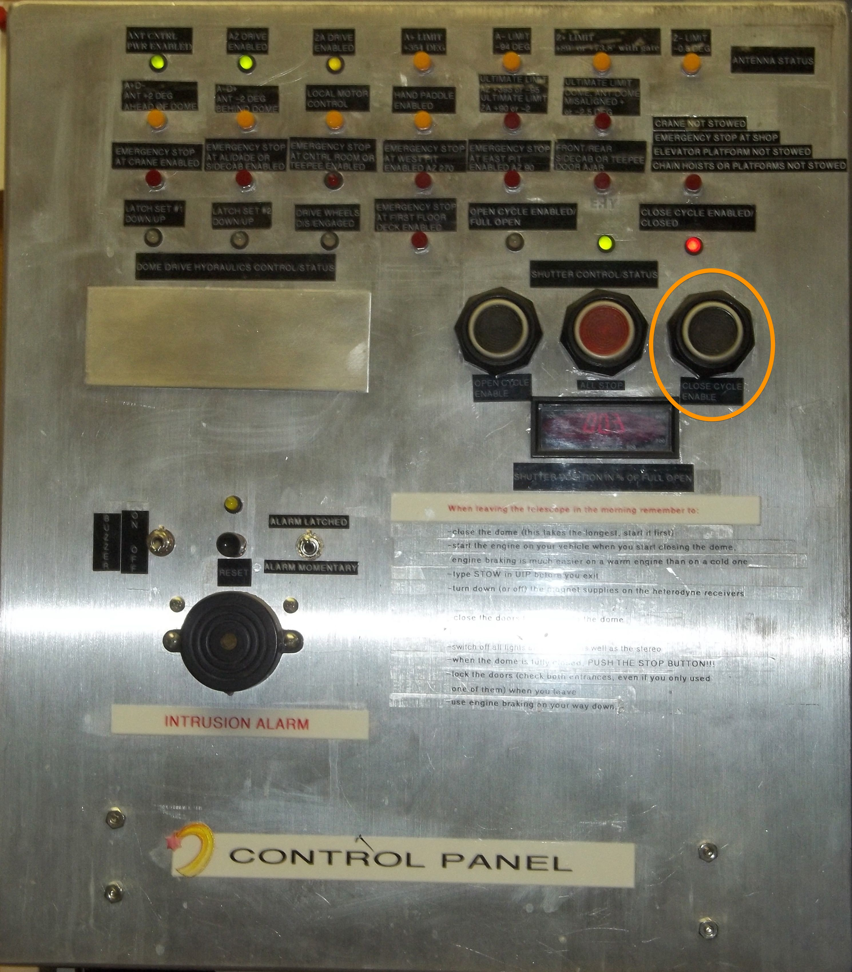 Shutter Panel Control Room